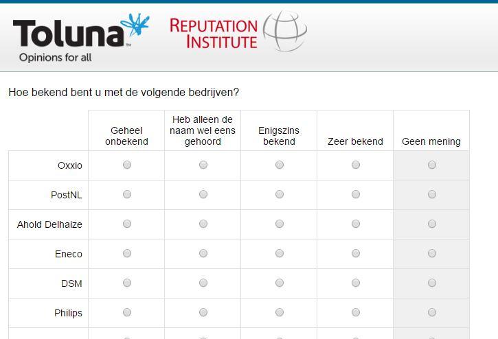 Voorbeeld enquête Toluna