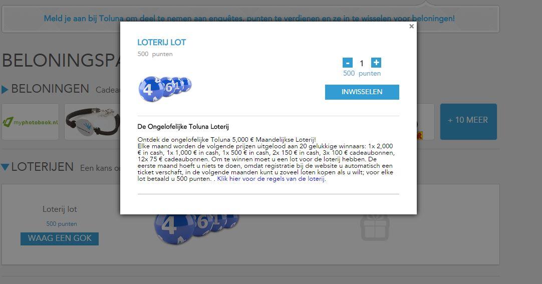 Loterij lot kopen bij Toluna